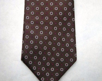 Liberty of London Brown Patterned Silk Tie Necktie