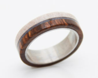 Antler Ring man ring wedding ring with antler and wood ring titanium band and lapis turquoise inlay