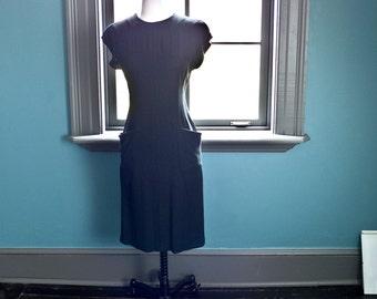 Vintage 80s 1980s MINIMALIST SHEATH wiggle shift DRESS / Maggy London dress