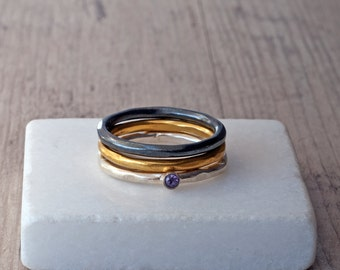 Stacking Rings, Sterling Silver Yellow Gold Black Oxide, Dainty Stackable Rings, Minimalist Delicate Thin Stacking Rings, Ring Set of 3