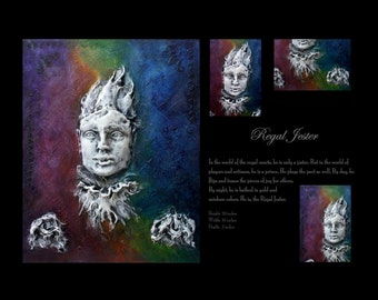 AVAILABLE: Regal Jester. Wall Sculpture by Fae Factory Artist Dr Franky Dolan (large original clay relief & canvas painting art) {SEE VIDEO}
