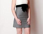 the natalie 60s dress mad men bombshell pin up small xs gray white black with bow waistline sleeveless