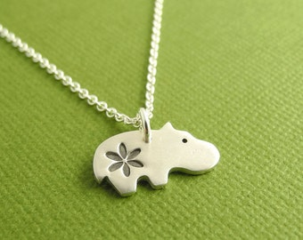 Tiny Daisy Hippo Necklace, Baby Hippo with Flower, Tiny Flowered Hippo, Fine Silver, Sterling Silver Chain, Made To Order