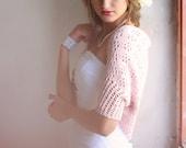 Wedding Shrug  Occasion Hand Knitted Bolero Pastel Dusty Rose Shrug Pink Cotton Lace Shrug