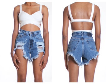 All Sizes Destroyed Ripped Distress  High Waist Shorts Plus Sizes