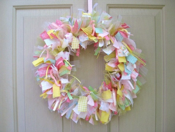 Baby wreaths newborn baby girl wreath baby by aworkofheartsa for Baby girl hospital door decoration