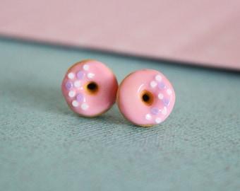 Doughnut stud earrings hypoallergenic (Surgical Steel) - Food jewelry