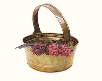 Vintage Brass Basket with Harlequin Decor / Metal Bucket with Handle / Small Round Gathering Basket