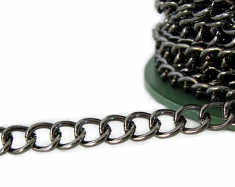 Chain : 10 feet Gunmetal Twist Oval Chain | Black Curb Chain Findings 7mm x 8mm x 1.6mm ... Lead, Nickel & Cadmium Free 80450