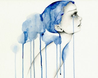 Watercolor Painting Giclee Fine Art Print of Original Blue Watercolor Painting Sad Girl Painting Watercolor Painting of a Girl