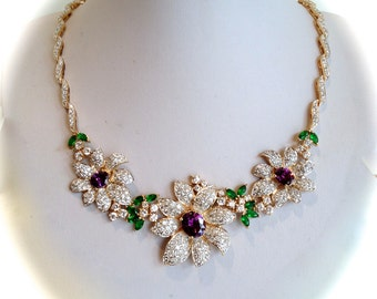 Vintage Gold Vermeil  Amethyst Emerald and Pave Flower Estate Necklace Mixed Gemstone Necklace Purple Stone Green Stone White Stone Blossom