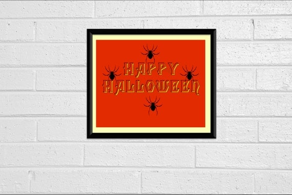 Happy Halloween Typography Print Art Print Wall Decor 8x10 Downloadable Printable Orange Black Spiders Decor Decoration Sign Silhouette