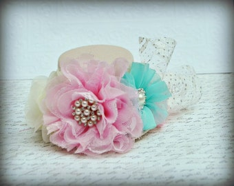 Tiffany Blue Pink and White Shabby Baby Top Hat, Girls Top Hat, Newborn Top Hat, infant Top Hat, Toddler Top Hat, Children's Top Hat