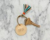 "personalized brass keychain // handmade tassel ""CASA"""