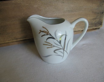 White Creamer, Gold Silver Trim, Small Ceramic Creamer, 3 1/2 Inch, Wheat Pattern Creamer MyVintageTable