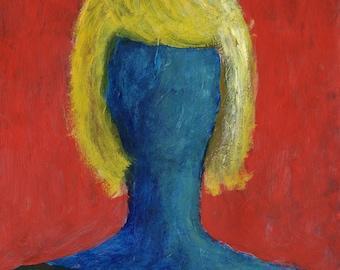 SALE - Original Painting - 'Blue Girl' by Peter Mack