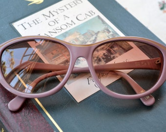 Pink Sunglasses, ZEISS Designer - 70s,Carl Zeiss, made in Western Germany, rounded cat eye, dusty pink, gold detail