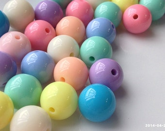 12 mm and 14 mm Opaque Mixed Light Color Round Shape Candy Acrylic Beads (.mnut)