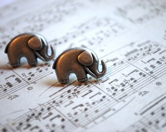 Chubby Elephant Studs -- Grey Elephants Earrings, Silver Elephant Earrings, Silver Studs, Lucky Elephant Earrings