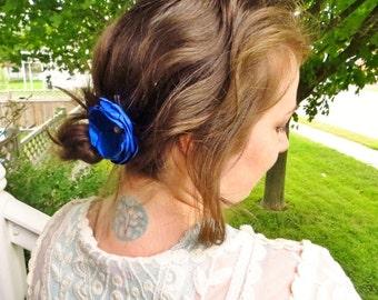 """Simple Royal Cobalt Blue Fabric Flower Hair Clip Blue Hair Accessories for Bridesmaid Hair Piece, 3"""" Satin Silk Flower Hair Accessory Pearl"""