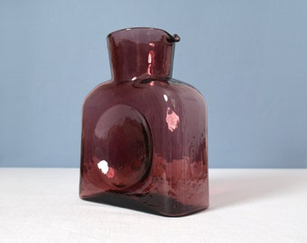 Vintage Blenko Water Bottle - Pitcher  in Vineyard Purple - Amethyst Model 384