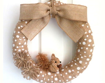 14-Inch Fall Wreath - Everyday Wreath - White Polka Dot Burlap Wreath with Jute Flowers and Squirrel Ornament