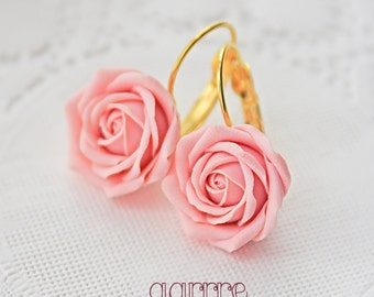 Soft Pink Rose Earrings, Light Pink Flower Earrings, Rose Earrings, Bridesmaid Earrings, Bridal Earrings, Gift For Her, Valentine's Day
