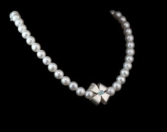 RIBBON PEARL NECKLACE | with Topaz on Silver Bow (Free shipping)