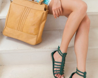 PILGRIM. Green leather gladiator sandals / women shoes /  leather shoes / leather gladiator sandal. Available in different leather colors.