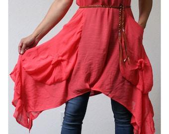 New Chic Long Tunic Lagenlook Dress, Sleeveless, Boho, Bohemian, Hip Hop with Pockets. S , M , L