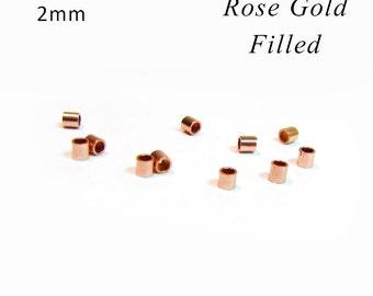 Rose Gold Filled Crimp Beads 2 mm RZ002