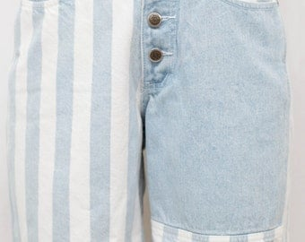 Vintage 90s High Waisted Blue & White Striped Denim Shorts by Zena Jeans - Size 7/8 Small