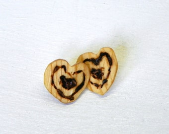 Recycled Hearts Wooden Earrings Burned Hearts One of a kind up-cycled jewelry
