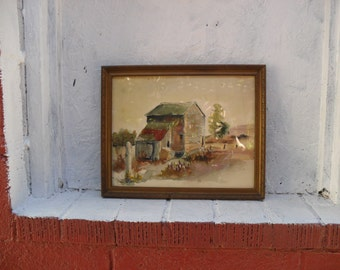 "Watercolor Rural Scene Outbuilding Fence post 1950s on Country Farm. 15"" by 12"" Nice!"