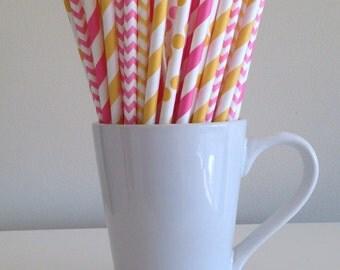 Pink and Yellow Striped, Chevron and Polka Dot Paper Straws Party Supplies Party Decor Bar Cart Cake Pop Sticks Mason Jar Straws Graduation