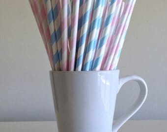 Pink and Blue Striped Paper Straws Pale Pink and Light Blue Party Supplies Gender Reveal Party Decor Bar Cart Cake Pop Sticks Graduation