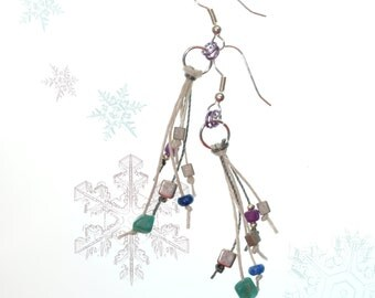 Winter Shades Hemp Cord Colorful Dangle Earrings