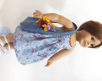 """Spring or summer sundress and messenger bag  for American Girl 18"""" Doll"""