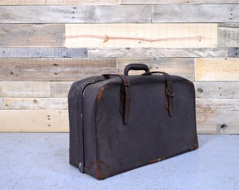 Vintage Brown Leather Suitcase, Brown Leather Luggage, Leather Bag, Vintage Luggage