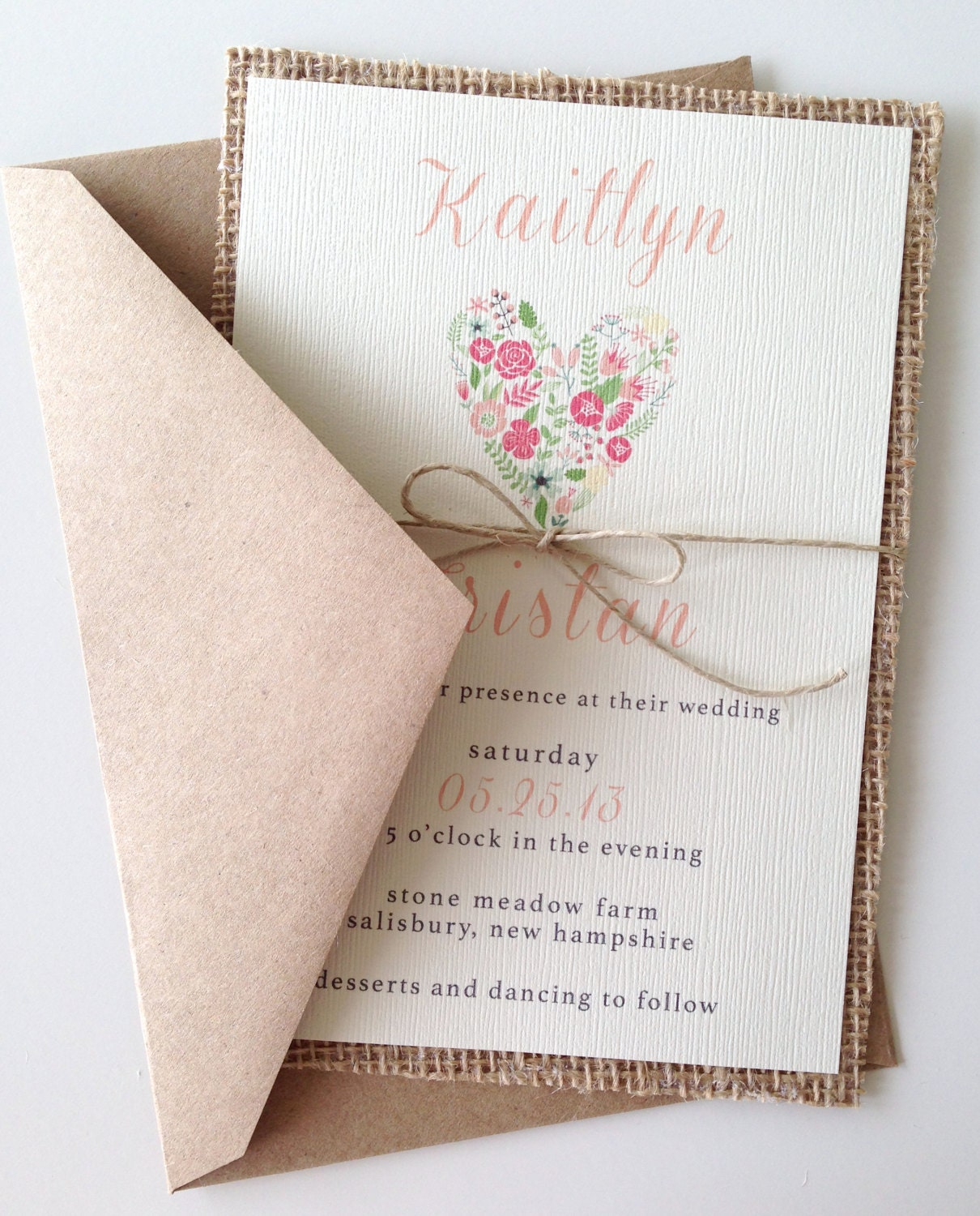 Heart Images For Wedding Invitations: Rustic Burlap Heart Wedding Invitations
