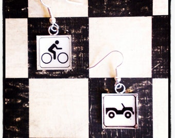 "black and white  earrings  ""bicyclette"""