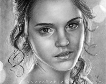 Emma Watson art PRINT of pencil drawing, Emma poster, home decor, Hermione GICLEE PRINT, black white drawing wall art, 8x10, 11x14, a3, a4