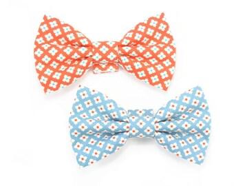 Blue Dog Bow Tie, Orange Bowtie, Orange Cat Bow Tie, Croquet Tiles