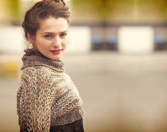 multicolor sweater - woman cropped sweater - brown shrug - brown sweater - romantic clothing