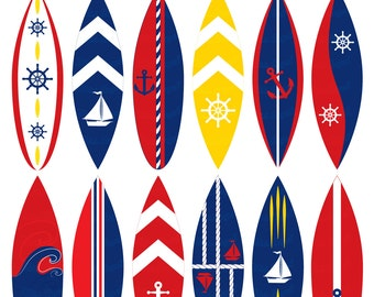 "Nautical Surfboards CLIPART. Navy surfboard clip art, red, blue, white. 12 Digital Images, 6"" Illustrations. MissAngelClipArt"