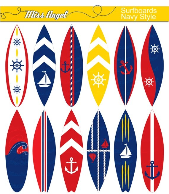 nautical surfboards clipart navy surfboard clip art red etsy