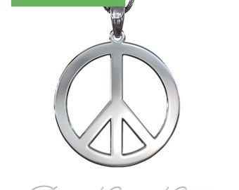 Peace Symbol Necklace in 925 Sterling Silver (1.0mm thick)