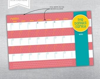 Monthly Desk Calendar. Desk calendar notepad.