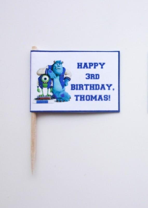 Items similar to Monsters University Birthday Cupcake ...