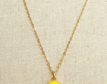 Canary Yellow  Necklace, Yellow Resin Round Necklace, Yellow Resin Disc Necklace, Gold Chain Yellow Necklace, Resin Jewelry For Her
